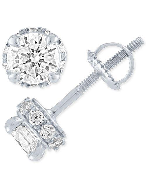 Macy's Diamond Stud Earrings ( 1 ct. t.w.) in 14k White Gold