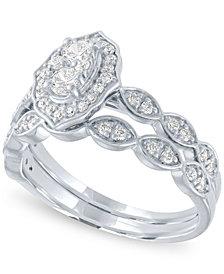 Diamond Halo Cluster Bridal Set (5/8 ct. t.w.) in 14k White Gold