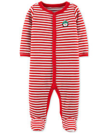 Carter's Baby Boys Holiday Striped Footed Coverall
