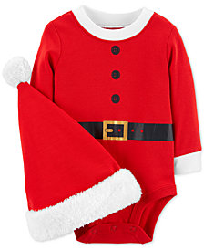 Carter's Baby Girls or Baby Boys Santa Cotton Bodysuit & Hat Set