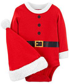 Carter's Baby Girls or Baby Boys Santa Cotton Bodysuit & Hat Set