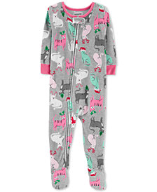 Carter's Baby Girls Holiday Cat-Print Footed Pajamas