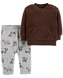 Carter's Baby Boys 2-Pc. Faux Sherpa Top & Printed Pants Set