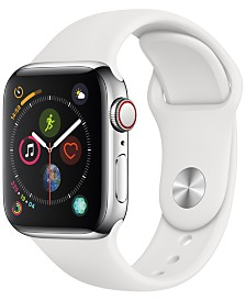 AppleWatch Series4 GPS+Cellular, 40mm Stainless Steel Case with White Sport Band