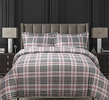 Plaid Cotton Flannel Printed Oversized Queen Duvet Set