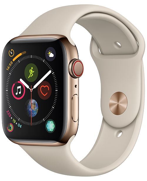 Apple Watch Series 4 AppleWatch Series4 GPS+Cellular, 44mm Gold Stainless Steel Case with Stone Sport Band