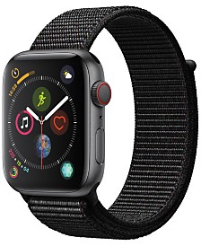 Apple Watch Series 4 GPS + Cellular, 44mm Space Gray Aluminum Case with Black Sport Loop