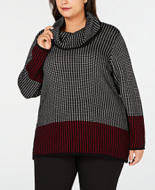 Calvin Klein Plus Size Cotton Colorblocked Sweater