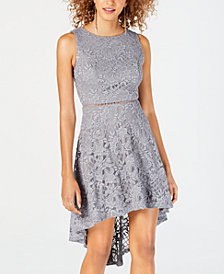 City Studios Juniors' Glitter Lace High-Low Dress