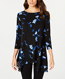 Alfani Chiffon Printed Swing Top, Created for Macy's