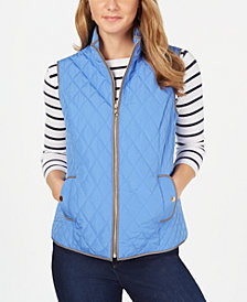 Charter Club Petite Quilted Mock-Neck Vest, Created for Macy's