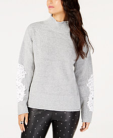 I.N.C. Petite Lace-Sleeve Mock-Neck Sweater, Created for Macy's