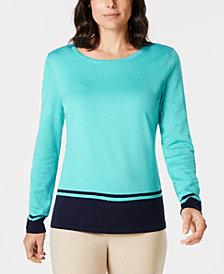9d339e530b08 Karen Scott Border-Stripe Sweater, Created for Macy's