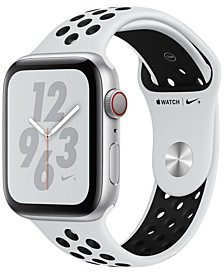Apple Watch Nike+ Series 4 GPS + Cellular, 44mm Silver Aluminum Case with Pure Platinum Black Nike Sport Band