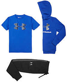 Under Armour Big Boys Rival Logo-Print Hoodie, Logo-Print T-Shirt & Jogger Pants