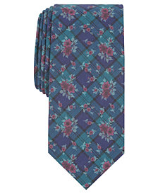 Bar III Men's Blackwatch Floral Skinny Tie, Created for Macy's