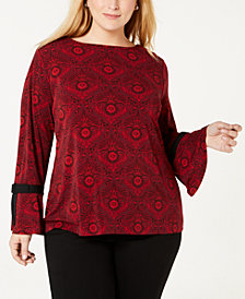 Charter Club Plus Size Tie-Sleeve Top, Created for Macy's