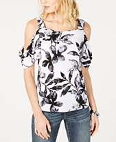 d1c021cd09eb I.N.C. Printed Cold-Shoulder Top, Created for Macy's