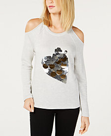 I.N.C. Sequin Heart Cold-Shoulder Sweatshirt, Created for Macy's