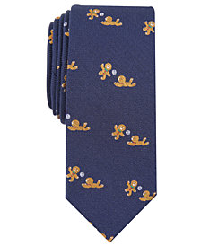Bar III Men's Gingerbread Man Game Slim Tie, Created for Macy's
