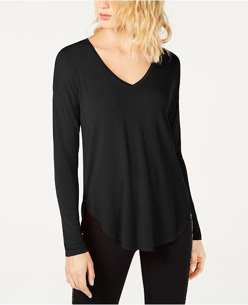 INC International Concepts I.N.C. V-Neck Curved-Hem T-Shirt, Created for Macy's