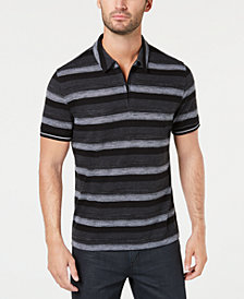 Alfani Men's Overdyed Stripe Quarter-Zip Polo, Created for Macy's