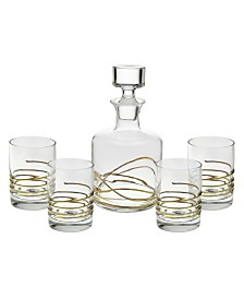Classic Touch Swirl 5 Piece Liquor Set With 14K Gold Swirl Design