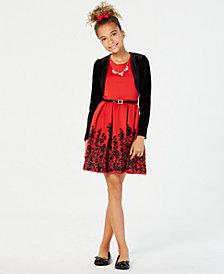 beautees big girls 3 pc velvet shrug flocked skater dress necklace set - Girls Red Christmas Dress