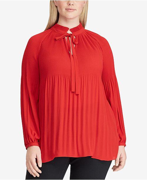 2fd010fc0a351 Lauren Ralph Lauren Plus Size Georgette Tie-Neck Top   Reviews ...