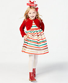 Blueberi Boulevard Little Girls 2-Pc. Shrug & Striped Dress Set
