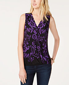 I.N.C. Petite Sleeveless Surplice Top, Created for Macy's