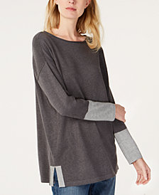 Eileen Fisher Contrast-Cuff Tunic Sweater