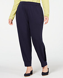 Eileen Fisher Plus Size Tencell Stretch Jersey Pull-On Track Pants