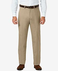 J.M. Sharkskin Classic-Fit Flat Front Hidden Expandable Waistband Dress Pants