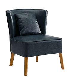 Accent Chair with Curved Back in Navy Blue
