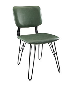 2 Flax Back Accent Dining Chairs with Black Stitching in Green