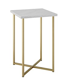 16 inch Square Side Table with Faux Marble Top and Gold Legs