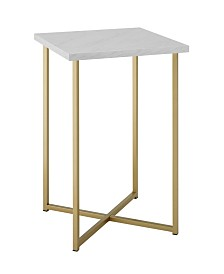 16 inch Square Side Table with White Faux Marble Top and Gold Legs
