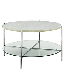 32 inch Round Coffee Table in Faux Marble with Glass Shelf and Chrome Legs