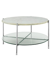 32 inch Round Coffee Table in White Faux Marble with Glass Shelf and Chrome Legs