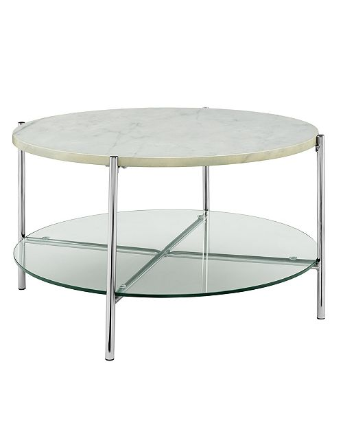 Walker Edison 32 inch Round Coffee Table in Faux Marble with Glass Shelf and Chrome Legs