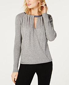 I.N.C. Surplice Glitter-Neck Sweater, Created for Macy's