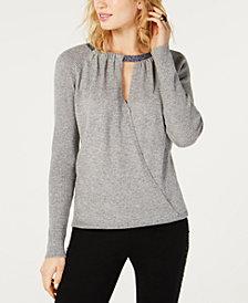 I.N.C. Surplice Glitter-Neck Sweater, Created for Macy's