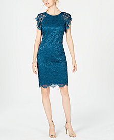 Vince Camuto Lace Flutter-Sleeve Sheath Dress