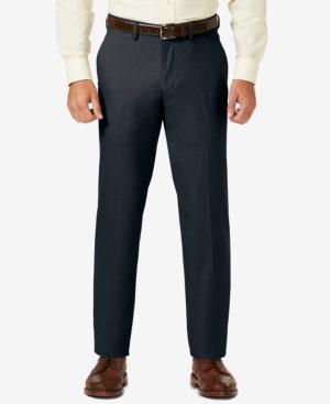 Sharkskin Straight Fit Flat Front Flex Waistband Dress Pants