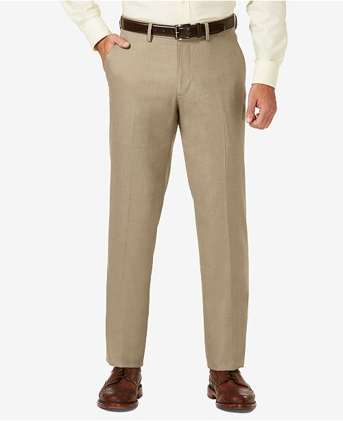 Haggar J.M. Sharkskin Straight Fit Flat Front Flex Waistband Dress Pants