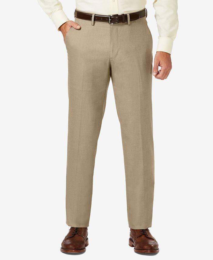 Haggar - Men's Sharkskin Straight Fit Flat Front Flex Waistband Dress Pants