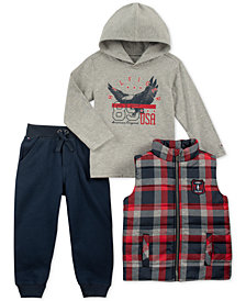 Tommy Hilfiger Baby Boys 3-Pc. Vest, Hooded Top & Jogger Pants Set