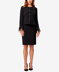 Tahari ASL Petite Feather-Embellished Skirtsuit
