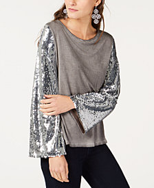 I.N.C. Sequin-Sleeve Top, Created for Macy's